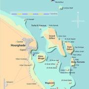 Mapa do litoral de Hurghada